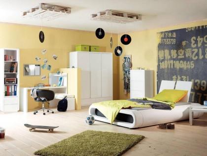 Prana - Lowboard, TV-Möbel, Sitzbank mit 1 quadratischen Fach und 2 breiten offenen Ablagen inkl Kabelöffnung, abgerundeten Kanten, weiss hochglanz - Vorschau 4