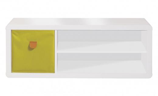 Prana - Lowboard, TV-Möbel, Sitzbank mit 1 quadratischen Fach und 2 breiten offenen Ablagen inkl Kabelöffnung, abgerundeten Kanten, weiss hochglanz - Vorschau 3