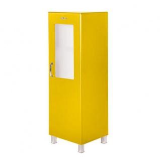 Miami - Vitrine mit 1 Tür mit Fenster aus Sicherheitsglas, Hochkommode, chromfarbene Griffe, Füsse und Logo aus hochwertigem Autoschriftzug, Metallgriffe, Autometallic-Lackierung in Gelb