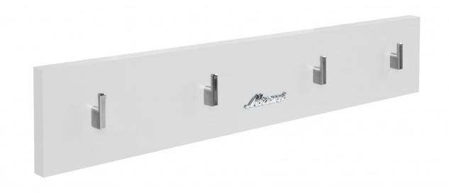 Miami Garderobenpanel mit 4 Haken, Autometallic-Lackierung, ABS Kanten in weiß