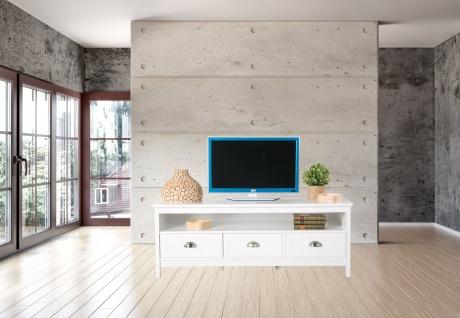 Country - Lowboard, TV Möbel, Mediamöbel mit 1 breiten Ablage und 3 Schubladen, weiss lackiert, Metallgriffe, romantischer Landhausstil - Vorschau 3