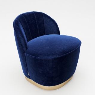 """PLAYBOY - Sessel """" STELLA"""" gepolsterter Cocktail-Sessel mit Rückenlehne, Samtstoff in Blau mit goldenem Metallfuss, Retro-Design"""
