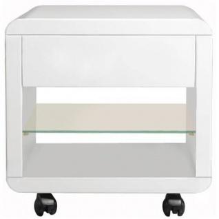 Prana - Rollcontainer mit 1 Schublade mit Push-Open, 1 Glasablage, abgerundete Kanten, weiss hochglanz