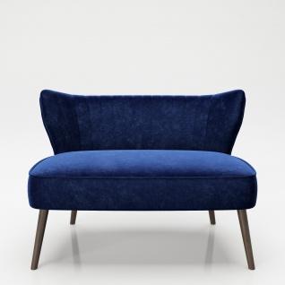 """PLAYBOY - Sofa """" KELLY"""", gepolsterter Loveseat mit Rückenlehne, Samtstoff in Blau mit Massivholzfüssen"""
