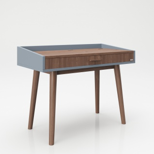 """PLAYBOY - Schreibtisch/Schminktisch """" HENRIETTE"""" mit Klappe und integriertem Spiegel, sanft schliessend, Walnuss/Grau, Retro-Design - Vorschau 3"""