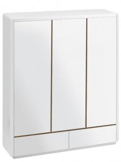 Prana - Kleiderschrank mit 3 Türen und 2 Schubladen, inkl Kleiderstange und viel Stauraum, abgerundete Kanten, weiss hochglanz
