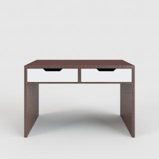 Kroko - Schreibtisch / Schminktisch mit Kroko-Leder-Optik in Braun, 2 Schubladen in hochglanz weiss