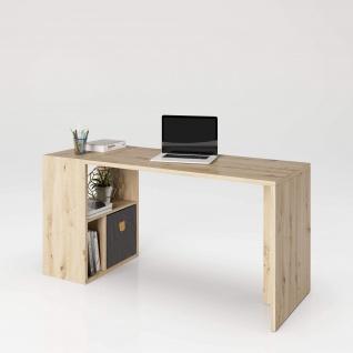 Fortuna - SET , Regal mit 3 Fächern inkl. Schreibtischanbau, Bücherregal, Büroregal, Raumteiler, Fächer in asymmetrischer Aufteilung