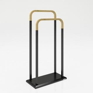 """PLAYBOY - Handtuchhalter/Herrendiener """" ELSA"""" mit 2 Überwürfen, schwarzes Metallgestell mit Bambus, Retro-Design"""