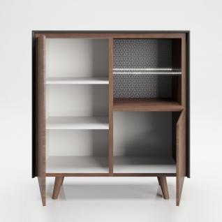 """PLAYBOY - Hochkommode """" VICTORIA"""" mit 2 Türen, sanft-schliessend und 2 Ablagen mit Glasboden und integriertem LED, Walnuss/Grau, Retro-Design - Vorschau 3"""