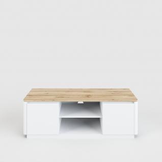 Arctic - Lowboard mit 2 Türen und 2 offenen Fächern, eingefräste Griffkanten, Oberplatte im Holzdekor, weiss matt lackiert