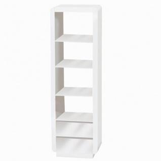 Prana - Hochregal, Standregal, Bücherregal mit 4 Fächern und 2 Schubladen, abgerundete Kanten, weiss hochglanz