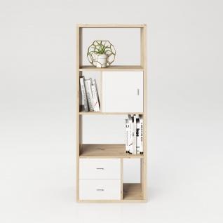 Fortuna - SET Regal mit 6 Fächern inkl. Tür-/Schubladeneinsatz, Bücherregal, Büroregal, Raumteiler , Fächer in asymmetrischer Aufteilung