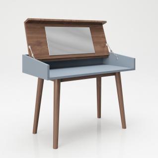 """PLAYBOY - Schreibtisch/Schminktisch """" HENRIETTE"""" mit Klappe und integriertem Spiegel, sanft schliessend, Walnuss/Grau, Retro-Design - Vorschau 4"""