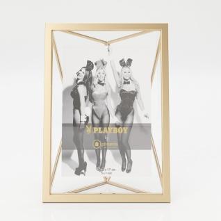 "PLAYBOY - Bilderrahmen "" HOPE"", Inlet 12x17cm, geometrische Form, goldenes Metallgestell, Retro-Design"