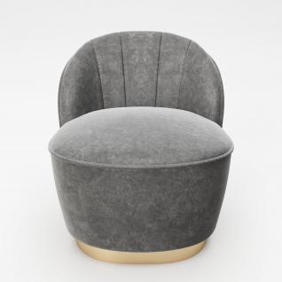 """PLAYBOY - Sessel """" STELLA"""" gepolsterter Cocktail-Sessel mit Rückenlehne, Samtstoff in Grau mit goldenem Metallfuss, Retro-Desgin"""