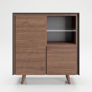 """PLAYBOY - Hochkommode """" VICTORIA"""" mit 2 Türen, sanft-schliessend und 2 Ablagen mit Glasboden und integriertem LED, Walnuss/Grau, Retro-Design"""