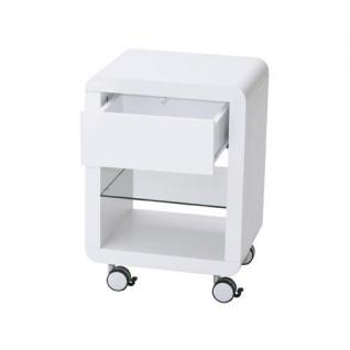Prana - Rollcontainer mit 1 Schublade mit Push-Open, 1 Glasablage, abgerundete Kanten, weiss hochglanz - Vorschau 2