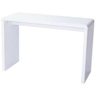 Prana - moderner Schreibtisch, Schminktisch, Bastelltisch, abgerundete Kanten, weiss hochglanz - Vorschau 4