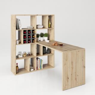 Fortuna - SET , Regal mit 12 Fächern inkl. Schreibtischanbau, Bücherregal, Büroregal, Raumteiler, Fächer in asymmetrischer Aufteilung