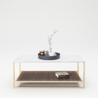 """PLAYBOY - Couchtisch """" OLIVIA"""" mit 1 Ablage im Walnuss Dekor, Tischplatte in Marmor Optik, goldenes Metallgestell"""
