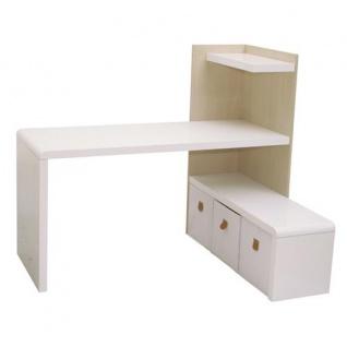 Prana - Schreibtisch-Lowboard-Kombi, Eckschreibtisch, Ecklösung, abgerundete Kanten, weiss hochglanz - Vorschau 5