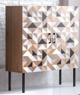 Spectral - Highboard mit 2 Türen mit Soft-Close, bedruckter Front, tobacco oak mit schwarz matt lackierten Metallkomponenten