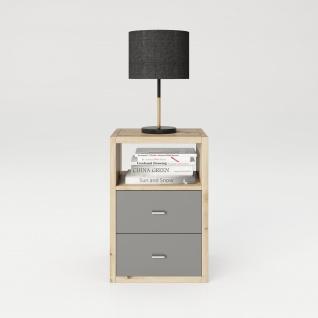 Fortuna - SET, Beistelltisch / Nachttisch inkl. Schubladeneinsatz , 2 Fächer in asymmetrischer Aufteilung