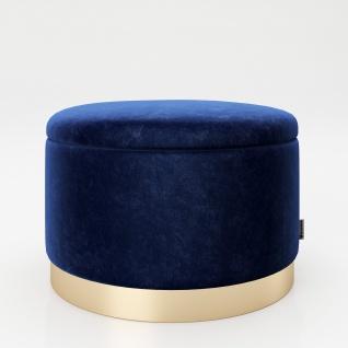 """PLAYBOY - runder Pouf """" SUE"""" gepolsterter Sitzhocker mit Stauraum, Samtstoff in Blau, goldener Metallfuss, Retro-Design"""