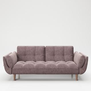 """PLAYBOY - Sofa """" SCARLETT"""" gepolsterte Couch mit Bettfunktion, Samtstoff in Rosa mit Massivholzfüsse, Retro-Design"""