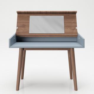 """PLAYBOY - Schreibtisch/Schminktisch """" HENRIETTE"""" mit Klappe und integriertem Spiegel, sanft schliessend, Walnuss/Grau, Retro-Design - Vorschau 2"""