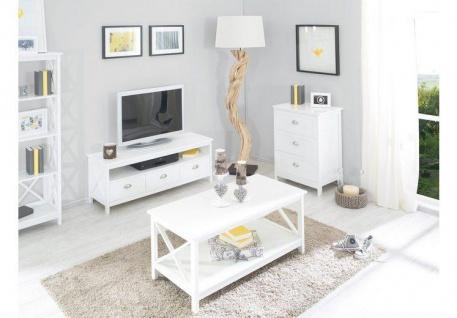 Country - Lowboard, TV Möbel, Mediamöbel mit 1 breiten Ablage und 3 Schubladen, weiss lackiert, Metallgriffe, romantischer Landhausstil - Vorschau 4