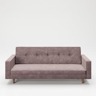 "PLAYBOY - Sofa "" SHIRLEY"" gepolsterte Couch mit Bettfunktion, Samtstoff in Rosa mit Massivholzfüsse, Retro-Design"