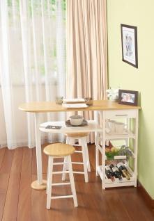 Nizza - Küchenbar, Lounge, Tresen mit 2 Barhockern und viel Stauraum, weiss lackiert mit Buche