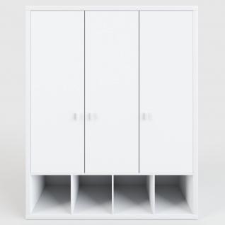 Caro - Kleiderschrank mit 3 Türen und 4 offenen, quadratischen Fächern, modernes Design, weiss