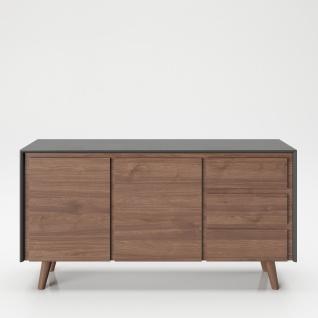 """PLAYBOY - Sideboard """" VICTORIA"""" mit 3 Schubladen und 2 Türen, sanft-schliessend, Walnuss/Grau, Retro-Design"""