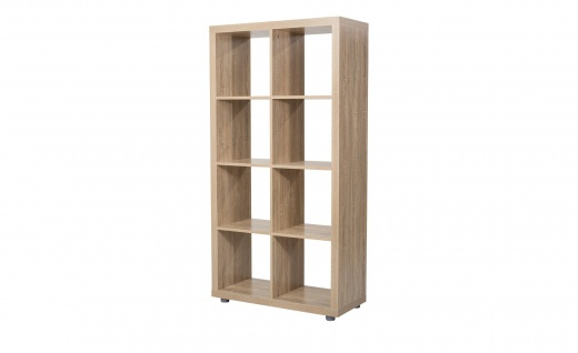 Caro - 4x2 Bücherregal, Cube, Regal, Raumteiler inkl. Kunststofffüssen, eiche sägerau