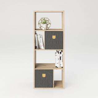 Fortuna - SET Regal mit 6 Fächern inkl. Stauraumboxen Bücherregal, Büroregal, Raumteiler, Fächer in asymmetrischer Aufteilung