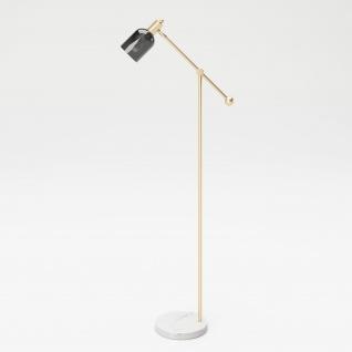 """PLAYBOY - Stehlampe """" AMBER"""" mit grauem Glasschirm, Marmorfuss und goldenem Metallgestell, Retro-Design"""