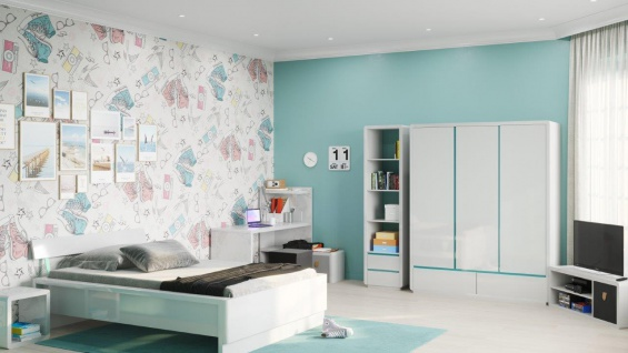 Prana - Lowboard, TV-Möbel, Sitzbank mit 1 quadratischen Fach und 2 breiten offenen Ablagen inkl Kabelöffnung, abgerundeten Kanten, weiss hochglanz - Vorschau 5