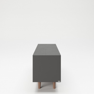 """PLAYBOY - TV-Lowboard """" VICTORIA"""" mit 2 Fächern, 1 Klappe, sanft-schliessend, Glasboden und integriertem LED, Walnuss/Grau, Retro-Design - Vorschau 4"""
