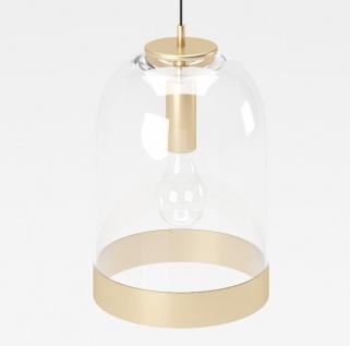 """PLAYBOY - Hängelampe """" LIZA"""" mit Glasschirm und goldenem Rand, Retro-Design, Club-Stil"""