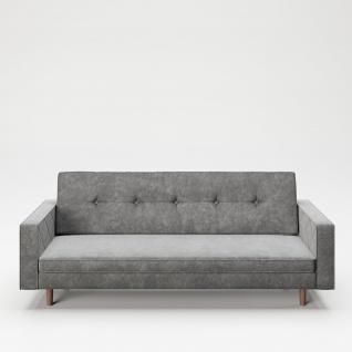 """PLAYBOY - Sofa """" SHIRLEY"""" gepolsterte Couch mit Bettfunktion, Samtstoff in Grau mit Massivholzfüsse, Retro-Design"""