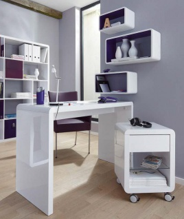 Prana - moderner Schreibtisch, Schminktisch, Bastelltisch, abgerundete Kanten, weiss hochglanz - Vorschau 2