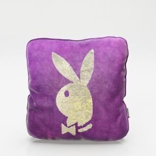 """PLAYBOY - Dekokissen """" ELLEN"""" mit Samtüberzug in Lila und gold/weissen Wendepailletten, mit Bunny, inkl Füllung"""