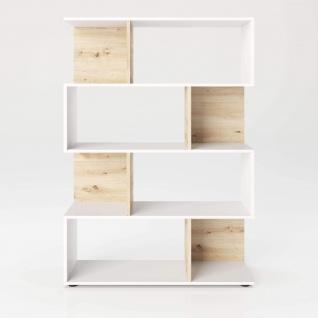 Shelfy - Bücherregal, Büroregal, Raumteiler mit 8 Fächern, asymmetrische Aufteilung