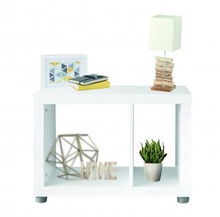 Fortuna - Bücherregal, Raumteiler, Büroregal, Beisteller mit 2 Fächern, asymmetrische Aufteilung, weiss