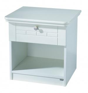 Florenz - Nachttisch mit 1 Schublade mit Soft-Close und offener Ablage, gefräste Fronten, weiss