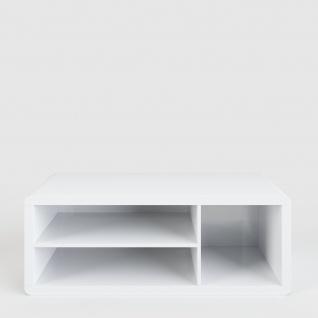 Prana - Lowboard, TV-Möbel, Sitzbank mit 1 quadratischen Fach und 2 breiten offenen Ablagen inkl Kabelöffnung, abgerundeten Kanten, weiss hochglanz