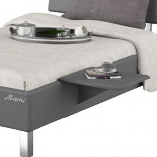 Miami Nachttisch zum einhängen in Jugendbett, Metallic Lackierung, chromfarbenes Logo aus hochwertigem Autoschriftzug, Grau Matt